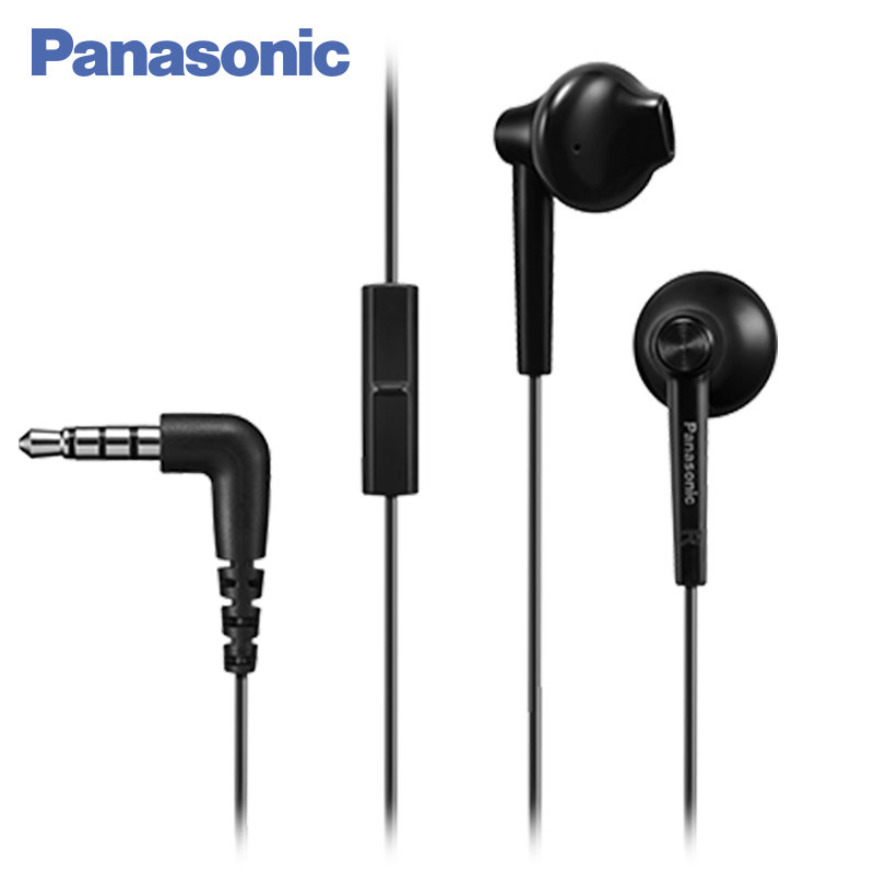 Panasonic RP-TCM50E-K In-Ear Headphones,Microphone and remote control,Compatible with smartphone,Clear bass sound,Custom design retractable 3 5mm in ear stereo earphone microphone 110cm
