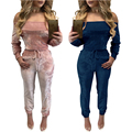 Elegant Off Shoulder Long Tight Jumpsuits Sexy Rompers Womens Jumpsuit Front Hollow Out Bodycon Bandgae Club Overalls Playsuit