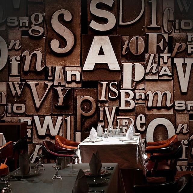 3D Embossed English Words Textured Letters Wallpaper Vintage Fashion Bar Cafe Restaurant Desktop Wall Paper