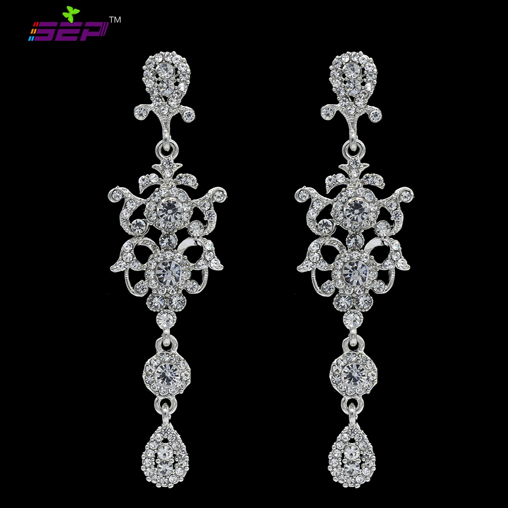 Clear rhinestone gorgeous chandelier crystal bridal long drop clear rhinestone gorgeous chandelier crystal bridal long drop earrings silver party hanging wedding jewelry fa5029e in drop earrings from jewelry arubaitofo Choice Image