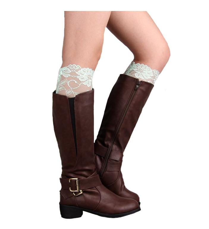 LASPERAL New Boot Socks Womens Stretch Lace Boot Cuffs Ladies Sexy Knee Ankle Wamer Spring Trim Toppers Socks Leg Warmers
