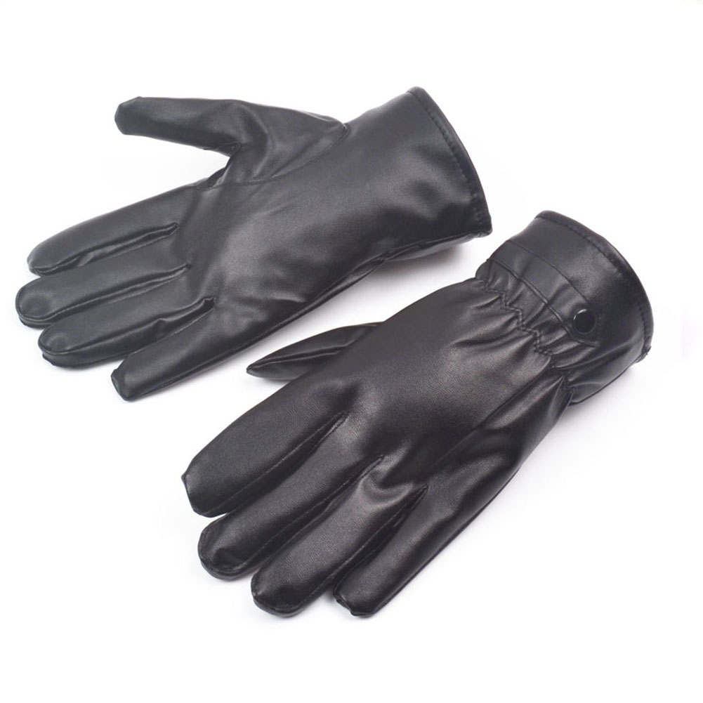 Tiger leather driving gloves - Hotsale Winter Pu Leather Gloves 0085 Black Luvas De Couro Motocycle Punk Rock Warm Luva Motoqueiro