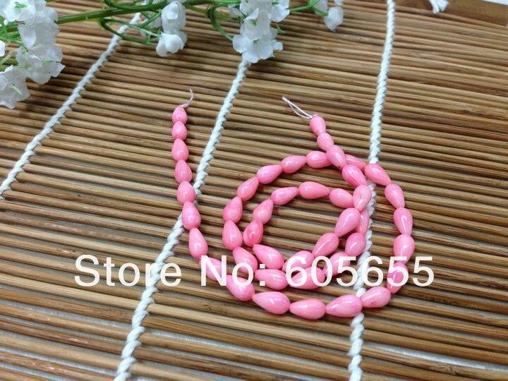 Класс 5x8 мм розовый коралл каплевидные бусины полудрагоценный камень бисер для Модные украшения 10 нитей за лот