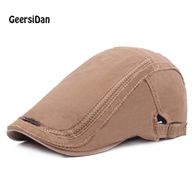 GEERSIDAN 2018 New all seasons cotton men's Beret hat fashion designer sun Peaked beret Cap for women embroidery cap for unisex