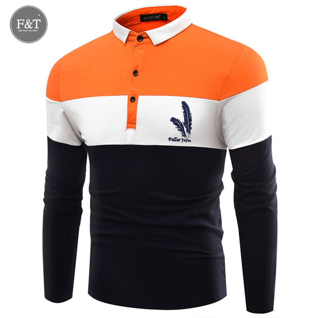 3XL Fashion Mens Polos Shirts Feather Printed Trend Slim Fit Long Sleeve Cotton Polo Mens Breathable Sportswear Camisa Masculina