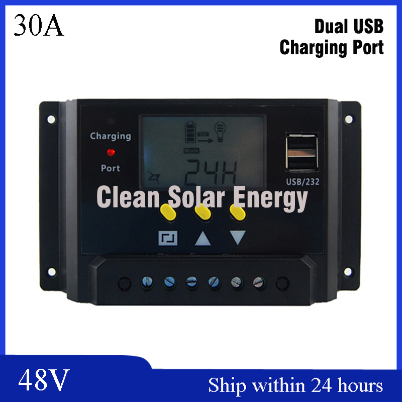 LCD Display Smart 30A Solar Charge Controller / 48V Charge Regulator / Solar Charger 48V With LCD Screen for Lead acid Battery battery equalizer ha02 4 x 6v 9v 12v used for lead acid batteris balancer charger controller solar