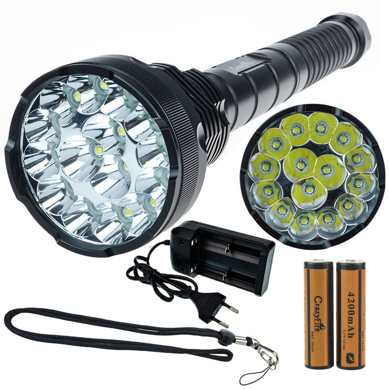 CrazyFire LED Flashlight 18000 Lumens 15xCREE XML T6 Lantern Torch With 2x Rechargeable 4200mah 18650 Battery+ Battery Charger new flashlight 18000 lumens high power 15x xml t6 led torch 1000m lighting distance hunting light by 4x 26650 battery