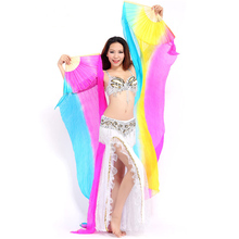 Beautiful Rainbow Belly Dance Fans Veil 100%Silk Belly Dance Fans MULTICOLOR 1pair(L+R) 5 color