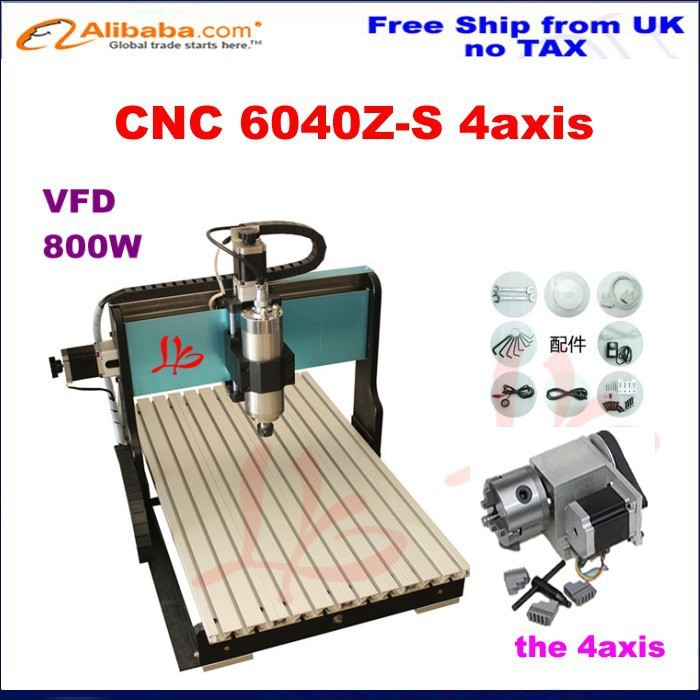 Russia no Tax! best water jet cutting machine price stone 4aixs cnc router 6040 Z-S 800W,water cooled,with limit switch no tax to russia cnc 5 axis t chuck type include a aixs