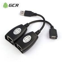 GCR USB CAT5/CAT5E/6 RJ45 to USB Ethernet Extender Lan Extension Cable Repeater Adapter