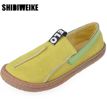 SHIDIWEIKE Women Loafers Shoes Round Toe Casual Pattern Lady Flats Wide Shallow Slip-on Shoes Oxford Shoes for Women L205