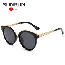 SUNRUN Fashion Women Polarized Sunglasses Brand Designer Cat Eye Sun Glasses Hollow Out Metal Frame Glasses UV400 17039
