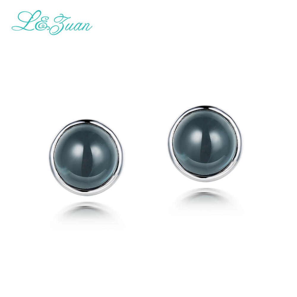 Fashion Big Pearl Jewelry Temperament 925Sterling Silver Natural Topaz Blue Stone Elegant Stud Earring For Woman Gift Joia fina цена