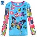Niños camiseta nova marca la moda de nueva bordado flor de mariposa bebé camiseta de la muchacha con el arco del bebé niña manga larga camiseta