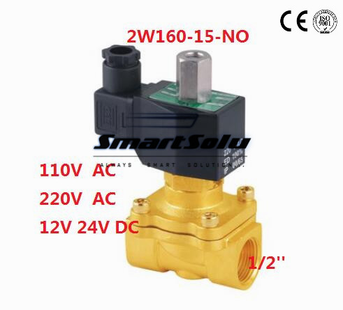 Normally Open 1/2 bspp Electric Solenoid Valve 2/2 Way Water Air Gas Oil, 2W160-15K N/O,DC 12V 24V AC 110V 220V dc 12v normally open n o 2 way pilot solenoid valve15mm water steam oil solenoid electric valve