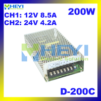 110 / 220VAC 200W power supply D 200C 12V 8.5A & 24V 4.2A miniature power supply with dual switching output