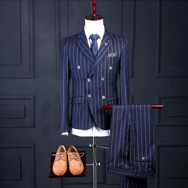 2019 New Men's Suit Slim Fit Blue Stripe Groom Wedding Business Fashion Mens Suits Dinner Party Dress Suits Male Tuxedos