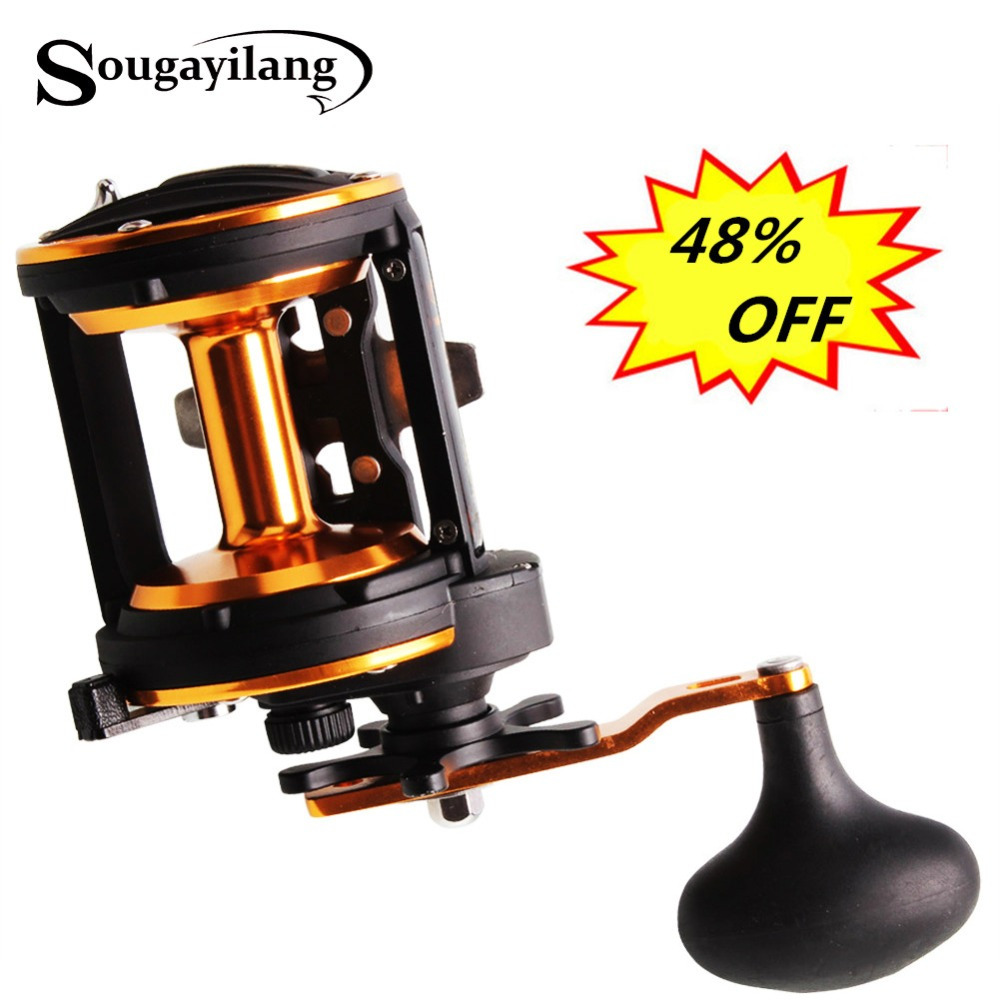 Sougayilang Professional Drum Fishing Reel Baitcasting Reel 3BB Carp Fishing Gear Bait Drag Fishing Reel Wheel Coil De Pesca trolling reel 9 1bb drum wheel carp baitcasting reels centrifugal brake casting saltwater fishing reel super power drag 30kg