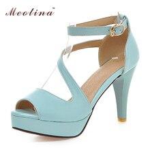 Meotina Shoes Women Summer Shoes Gladiator Sandals Women High Heels Sandals Open Toe Platform Ladies Shoes Beige White Size 9 43