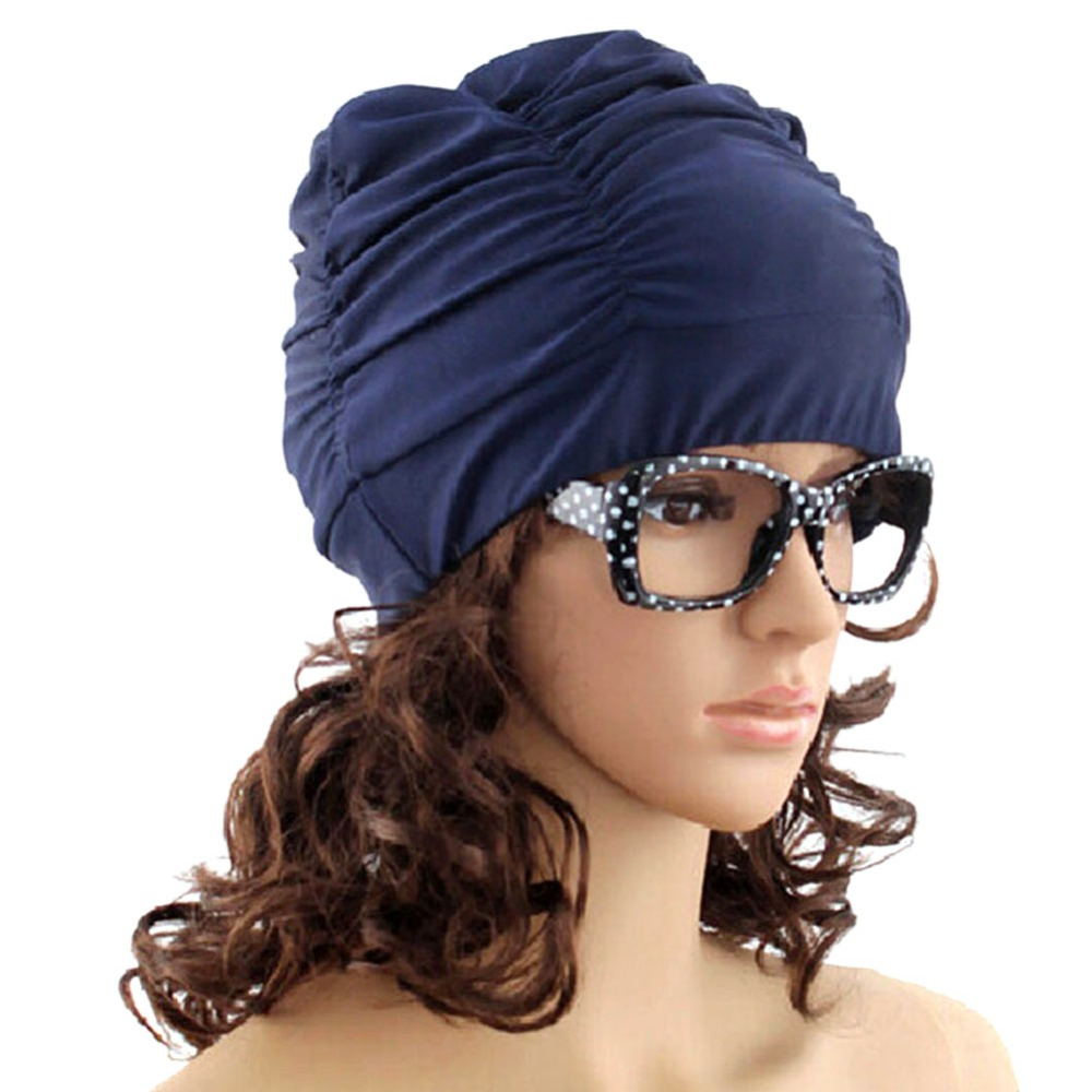 Sexy Womens Girls Drape Stretch Long Hair Swim Cap Hat -9807