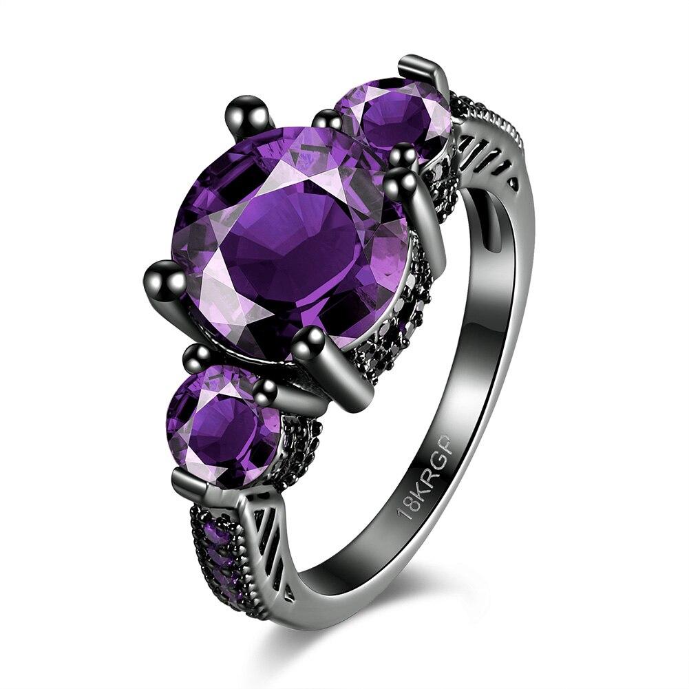 Red Imitation Crystal Fashion Women Wedding Flower Zircon Jewelry  Black Gold Filled Engagement
