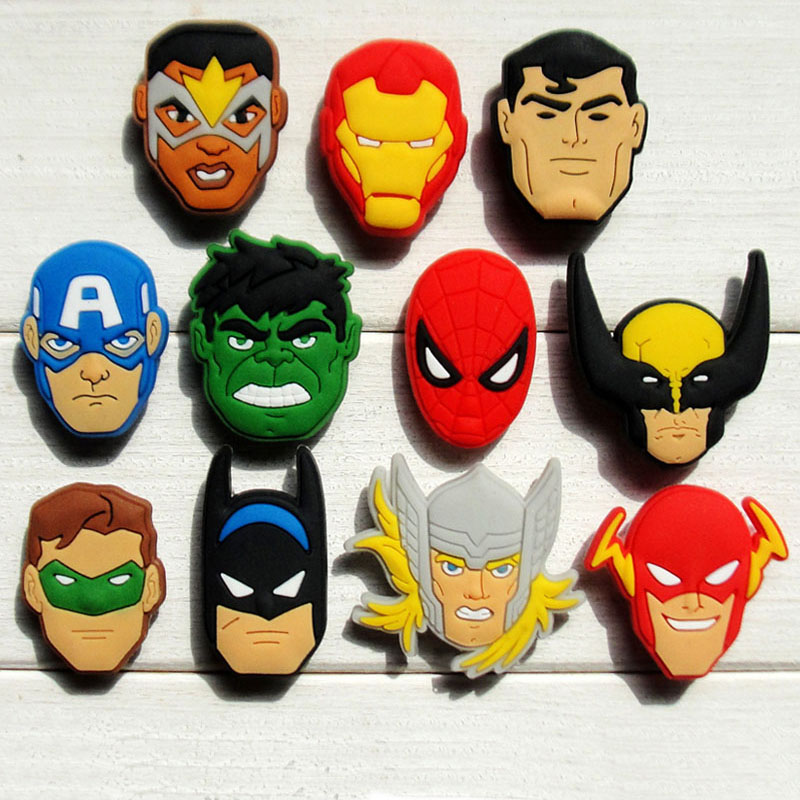 Free shipping New 100pcs Avengers PVC shoe charms shoe accessories shoe buckle For wristbands Bands &kid's gifts best free shipping new 100pcs avengers pvc shoe charms shoe accessories shoe buckle for wristbands bands