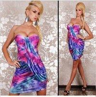 бесплатная доставка сексуальное миниое платье multicol платье топ мода