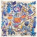 Jardim mágico Foulard Femme Mulheres Lenços Coloridos de Seda Lenço Quadrado de Alta Qualidade