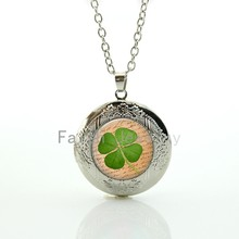 Lucky Four Leaf Clover Picture fresh spring green nature plant locket necklace good mood pendant happiness symbol gift(China)