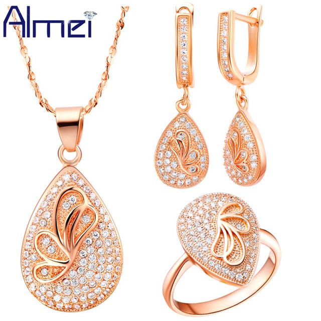 ea725789f Almei Butterfly Jewelry Sets for wedding Bridal Fashion Pendant Earrings  Ring Zircon Gold Color Conjunto Colar E Brinco T126