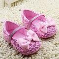 De Encaje de color rosa Arco Infant Baby Girl Zapatos de Lentejuelas Zapatos de Primer Caminante Zapatos Cochecito de niño Suela Blanda Antideslizante Zapatos De Niño Niña Infantil Sapatos