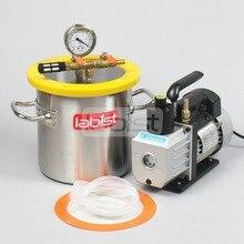 1,6 галл.(6,3 л) комплект вакуумной камеры с 3CFM 110 в насос, 200 мм* 200 мм нержавеющая сталь вакуумной дегазации камеры для смолы
