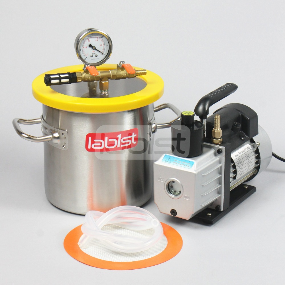 1.6 Gal (6.3 L) Vacuum Chamber Kit With 3CFM 110V Pump,200mm*200mm Stainless Steel Vacuum Degassing Chamber For Resin