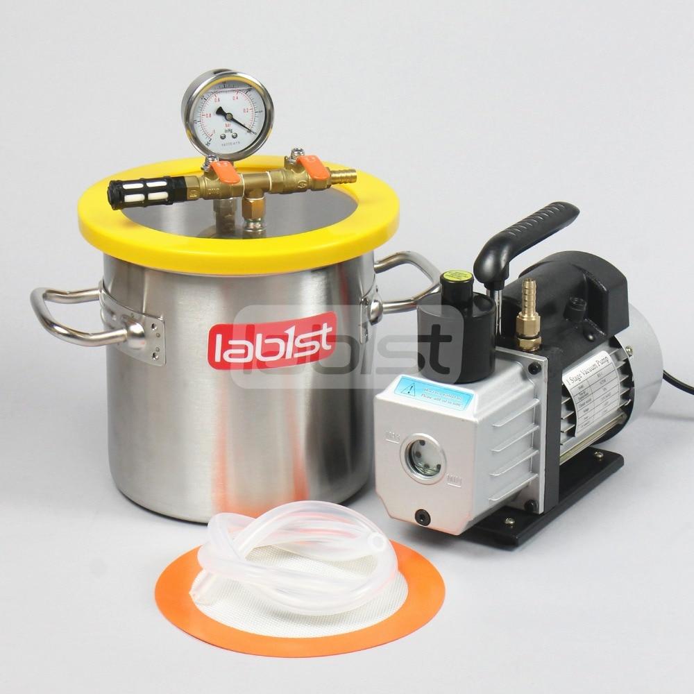 1.6 Gal (6.3 L) Vacuum Chamber Kit With 3CFM 110V Pump,200mm*200mm Stainless Steel Vacuum Degassing Chamber For Resin