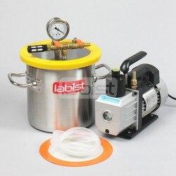 Kit de recámara de vacío 1,6 Gal (6,3 L) con bomba 3CFM 110 V, cámara de desgasificación de vacío de acero inoxidable de 200mm * 200mm para Resina