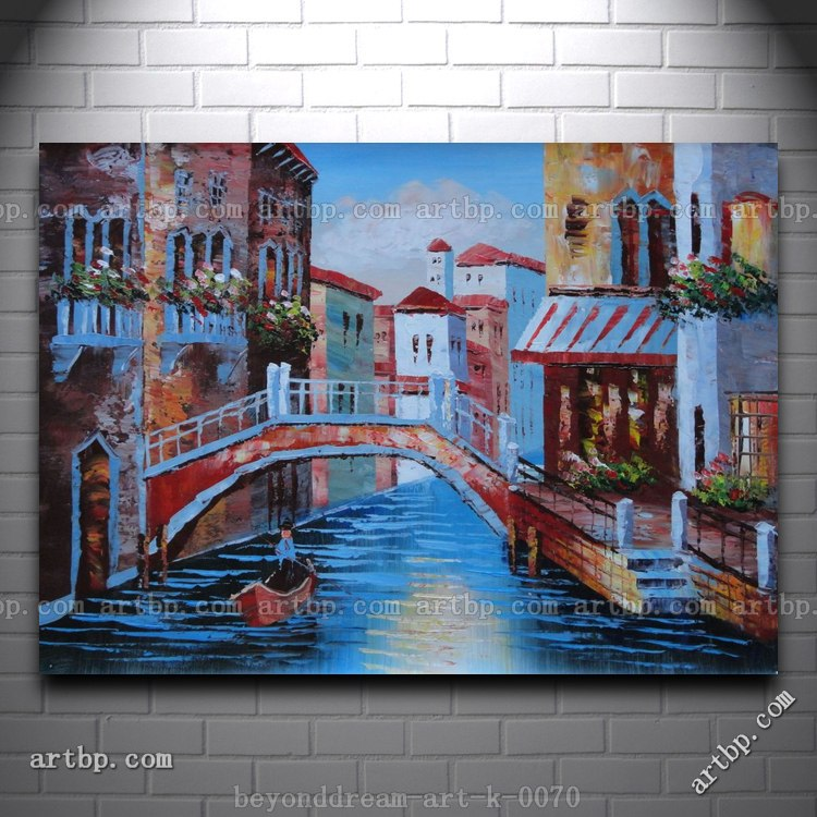 Gondolas In Canal Of Venice Italy Oil Painting Naturalism Canal ...