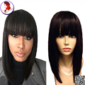 Short Bob Wigs With Bangs Frontal Lace Human Hair Wigs Silky Straigth Bob Wig Brazilian Virgin Hair For Black Women Baby Hair