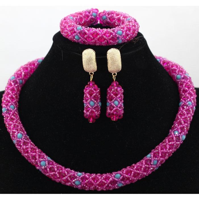 2017 New Fashion Women Vintage New Bridal Rhinestone Nigerian Wedding African Beads Jewelry Set Crystal WA872