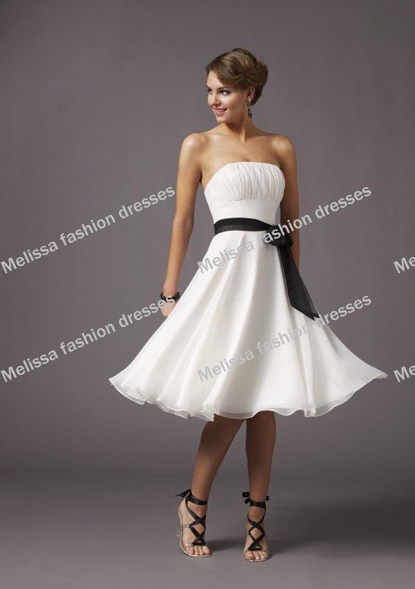 Hottest Black And White Calf Length Chiffon A Line S Bridesmaid Dresses