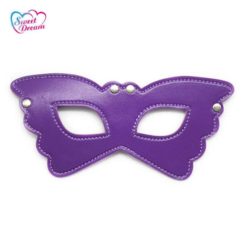 Leather Blindfold with Elastic Butterfly Shape Eye Mask with Eye Holes Adult Game Role P ...