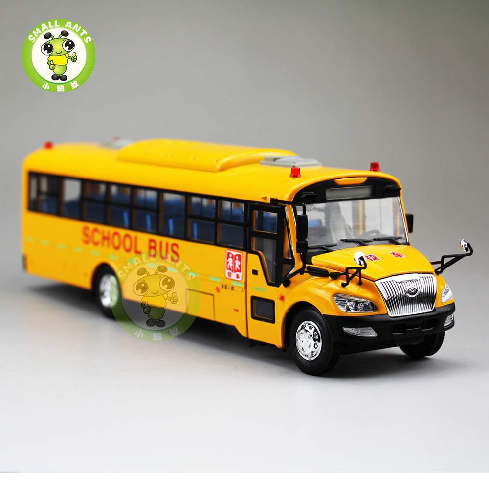 1:43 Scale School Bus China YuTong ZK6118H Diecast Metal Bus Model Toys Collection Hobby 1 38 china gold dragon bus models xml6122 diecast bus model gold