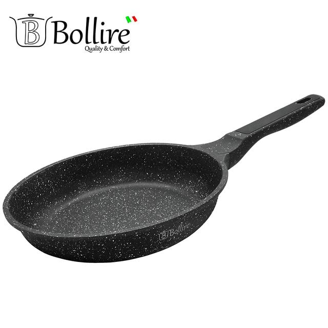 BR-1106 Сковорода Bollire MILANO 24 см. Подходит для всех видов плит, включая индукционные, Технология дна FULL INDUCTION BOTTOM, Внутреннее покрытие PFLUON Marble - трехслойное, износостойкое антипригарное покрытие
