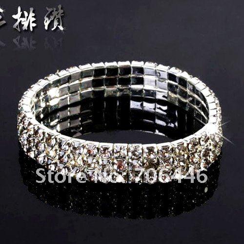 Посеребренный 3 ряда горный хрусталь кристалл эластичный стрейч браслет