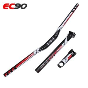 Image 4 - עור סיבי פחמן MTB סיבי EC90 אופני סט 3 שטוח חלקי אופני הרי MTB riser כידון + גזע + seatpost
