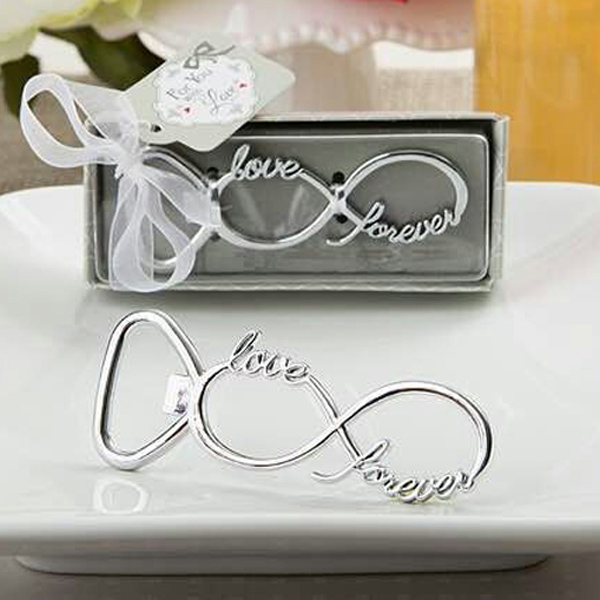 Free Shipping 150pcs lot Party Favors Forever Love Chrome Beer Bottle Openers Wedding Favors