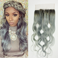 Full Shine Three Bundle Hair Weaving With Lace Frontal Body Wave Human Hair Weft Color 1B Ombre Silver Cheap Remy Hair Weave
