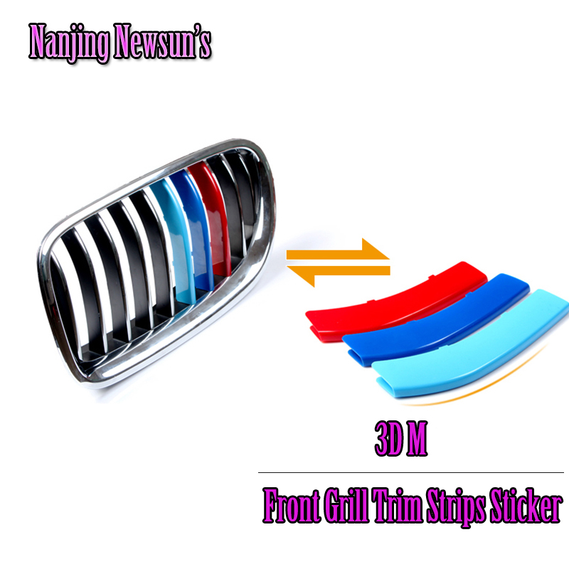 3PCs/Set Newly ABS For Bmw Car Front Grill Trim Strips Cover Sticker Car Styling Auto Car Exterior Accessories X1 X3 X5 X6