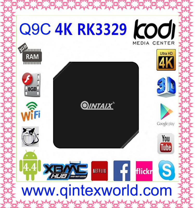 ФОТО Q9C Android TV Box RK3229 Chipset Quad Core1GB 8GB KODI loaded Airplay Smart Android TV Box mejor que