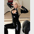 Hot Sexy Lingerie Black PU Leather Rubber Flexible Women Catsuit Sexy Club Wear Open Bust Costumes for Women Plus Size
