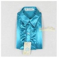 детские новый машины мальчика рубашки с длинным рукавом классический фрак костюм готовить Голуб озеро блеск Silk Texture бесплатная доставка